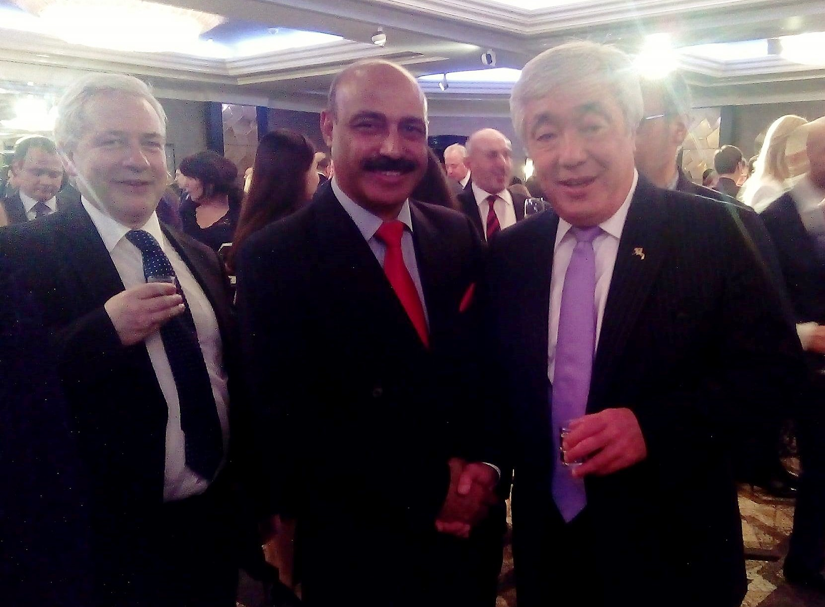 Dr Shahid Qureshi senior British Journalist and Chief Editor of The London Post meeting with HE. Erlan Idrisov, Ambassador to United Kingdom and former Minister Foreign Affairs, Republic of Kazakhstan at National Day Reception in London.